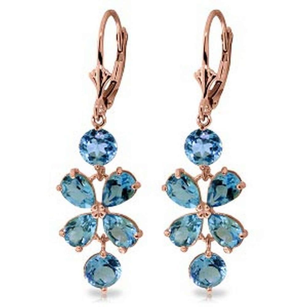 5.32 CTW 14K Solid Rose Gold Chandelier Earrings Natural Blue Topaz