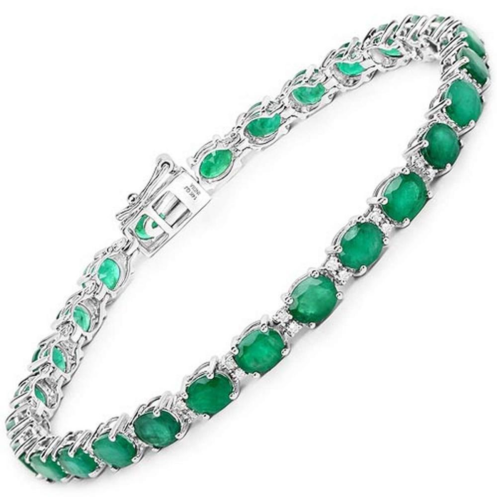 9.19 CTW Genuine Zambian Emerald and White Diamond 14K White Gold Bracelet