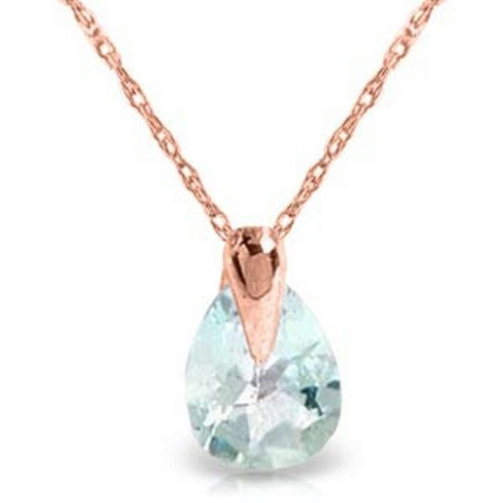 0.68 Carat 14K Solid Rose Gold Necklace Natural Aquamarine