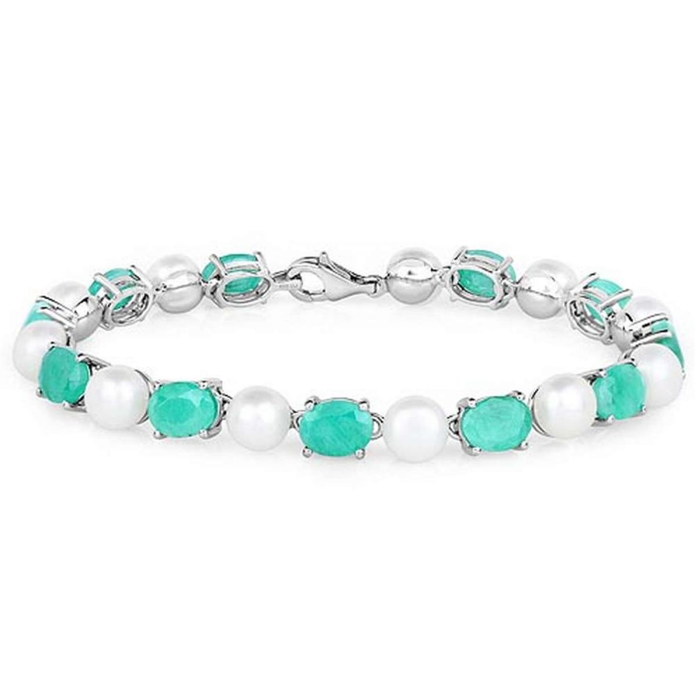 33.00 CTW Genuine Emerald and Pearl .925 Sterling Silver Bracelet
