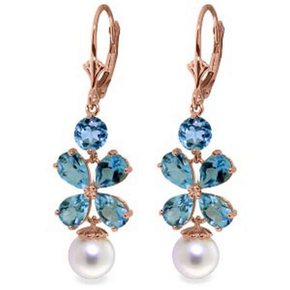6.28 Carat 14K Solid Rose Gold Chandelier Earrings Blue Topaz pearl