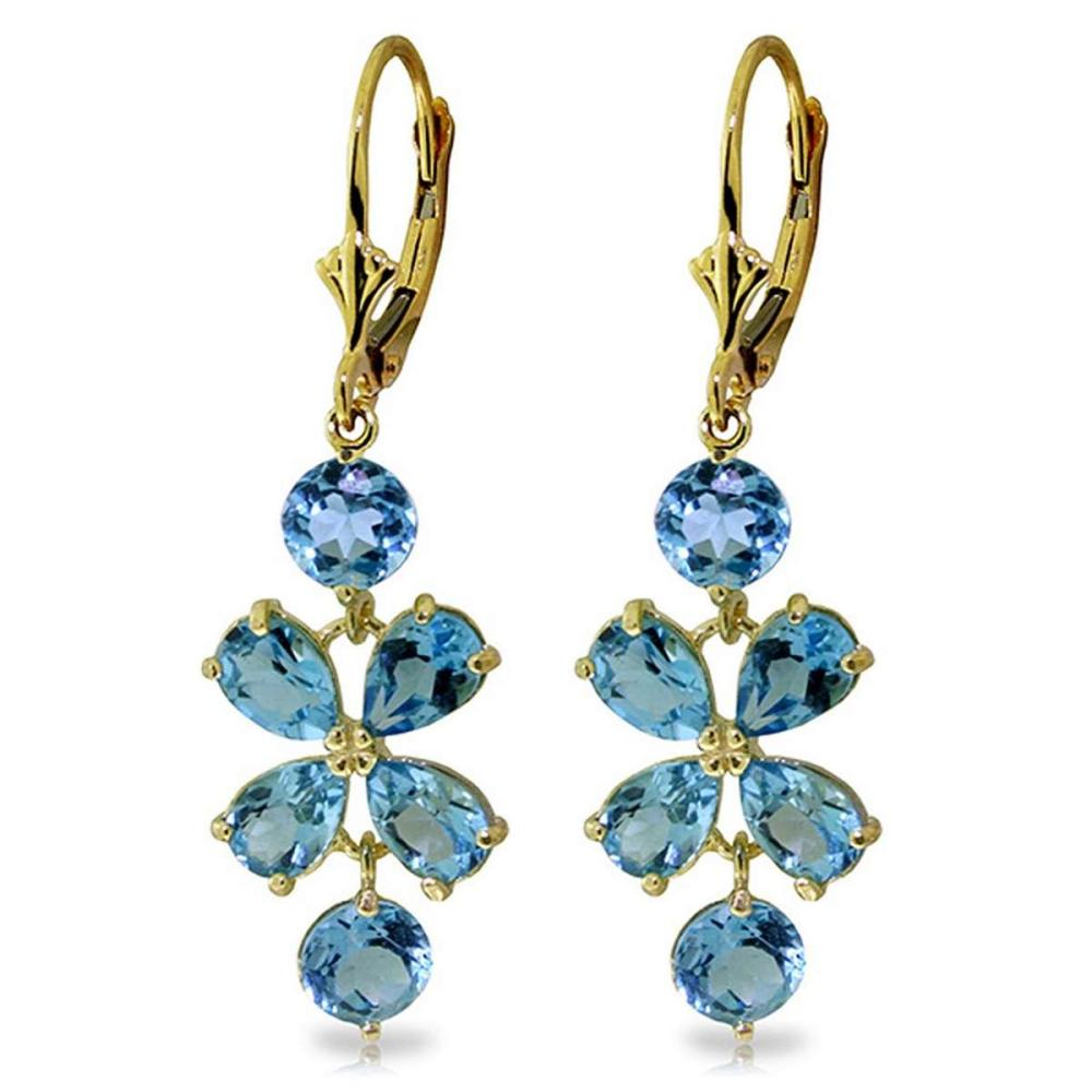 5.32 Carat 14K Solid Gold Chandelier Earrings Natural Blue Topaz
