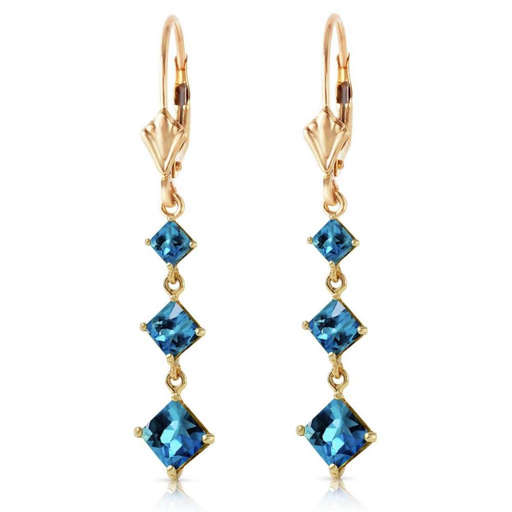 4.79 Carat 14K Solid Gold Giving Blue Topaz Earrings