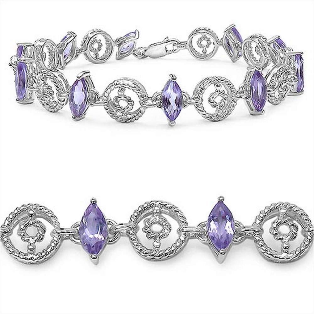 5.30 CTW Genuine Amethyst .925 Streling Silver Bracelet