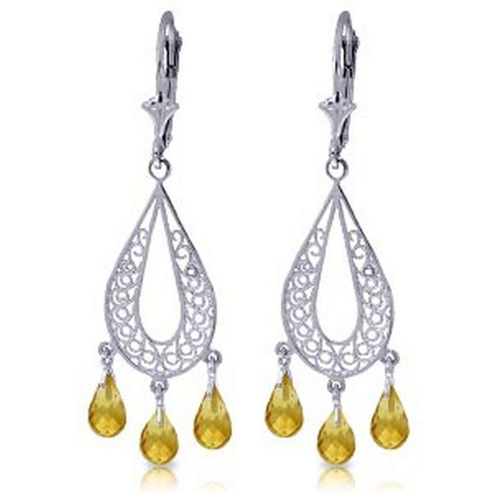 3.75 Carat 14K Solid White Gold Chandelier Earrings Natural Citrine
