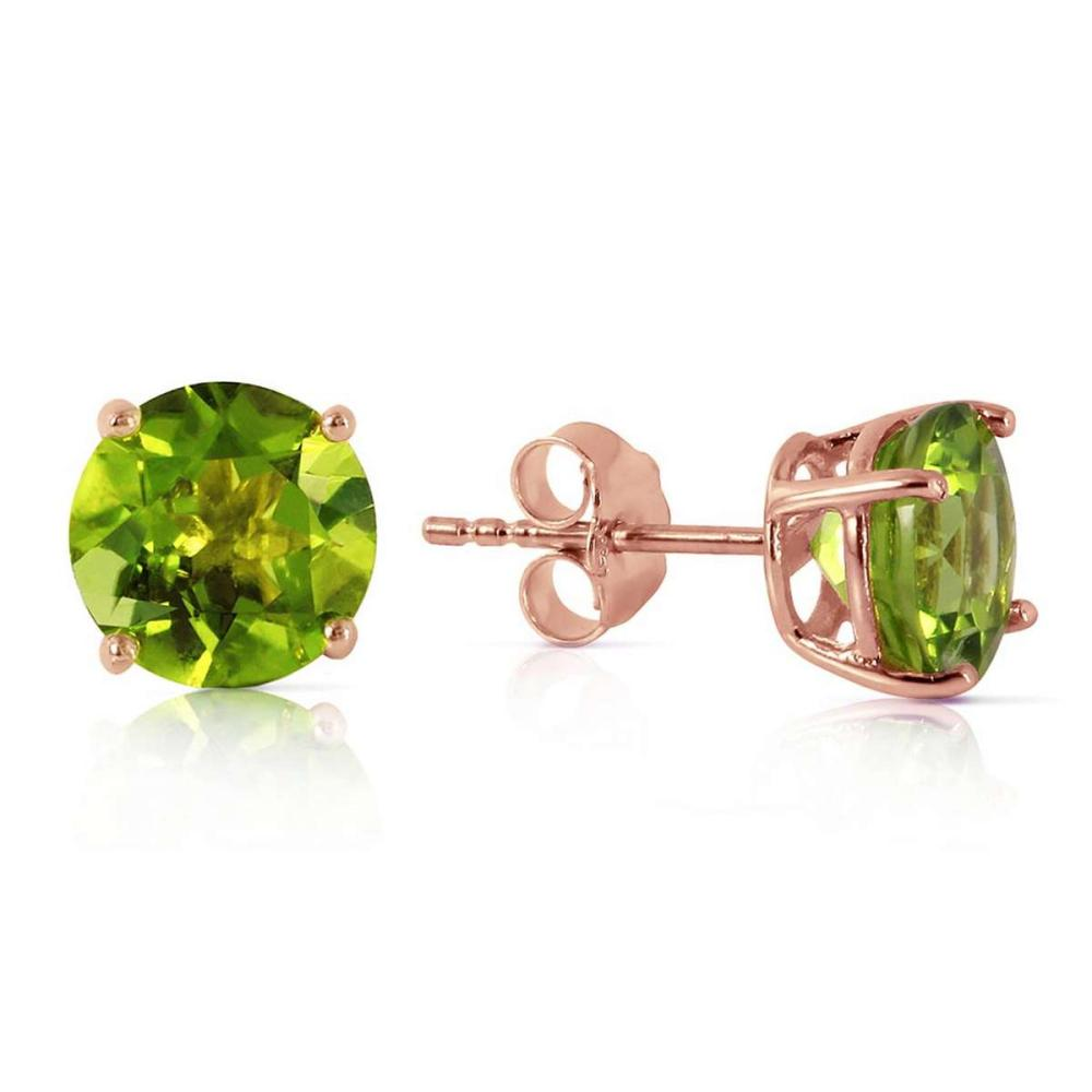3.1 CTW 14K Solid Rose Gold Stud Earrings Natural Peridot
