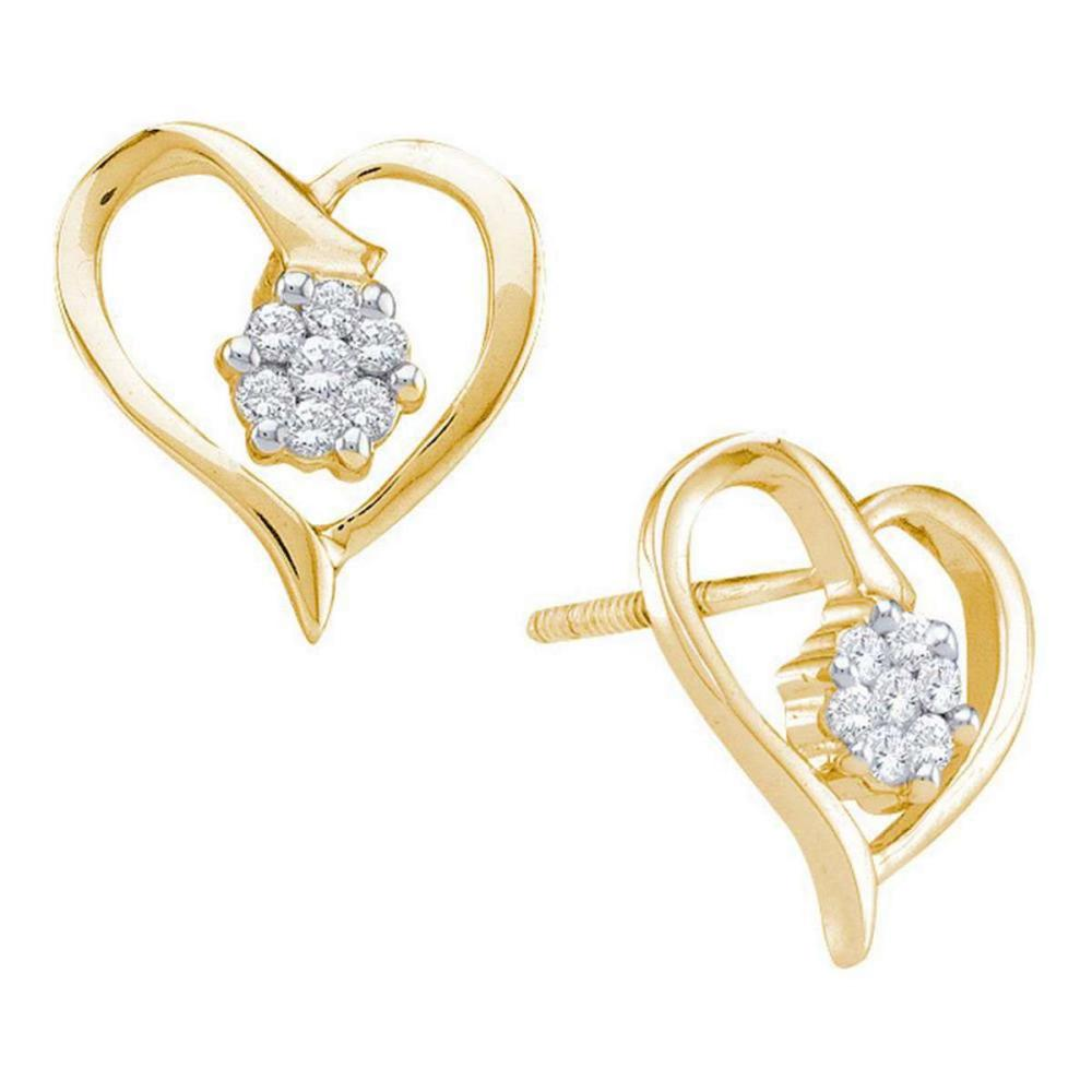 10k Yellow Gold Womens Round Diamond Cluster Heart Screwback Earrings 1/6 Cttw