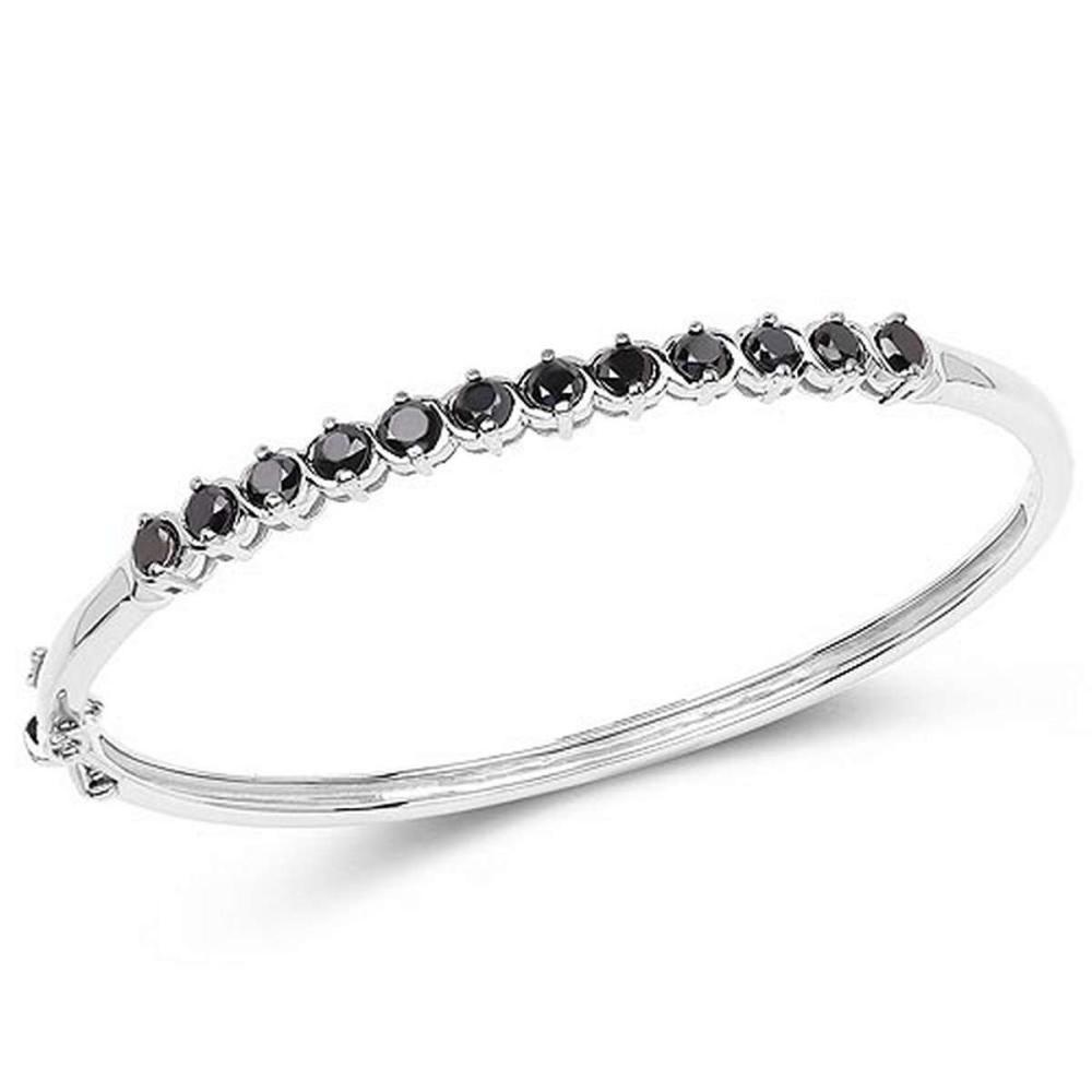 2.10 CTW Genuine Black Diamond .925 Sterling Silver Bangle
