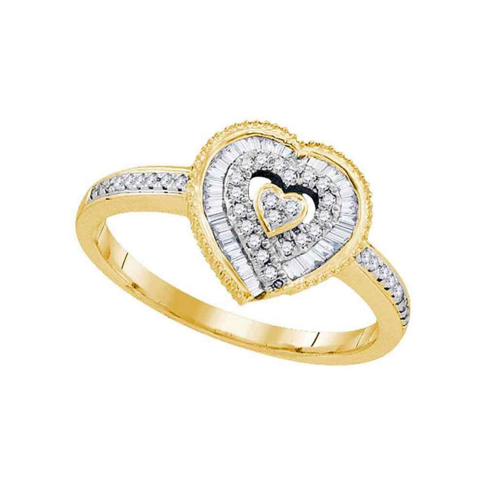 10k Yellow Gold Womens Round Diamond Heart Love Fashion Ring 1/4 Cttw