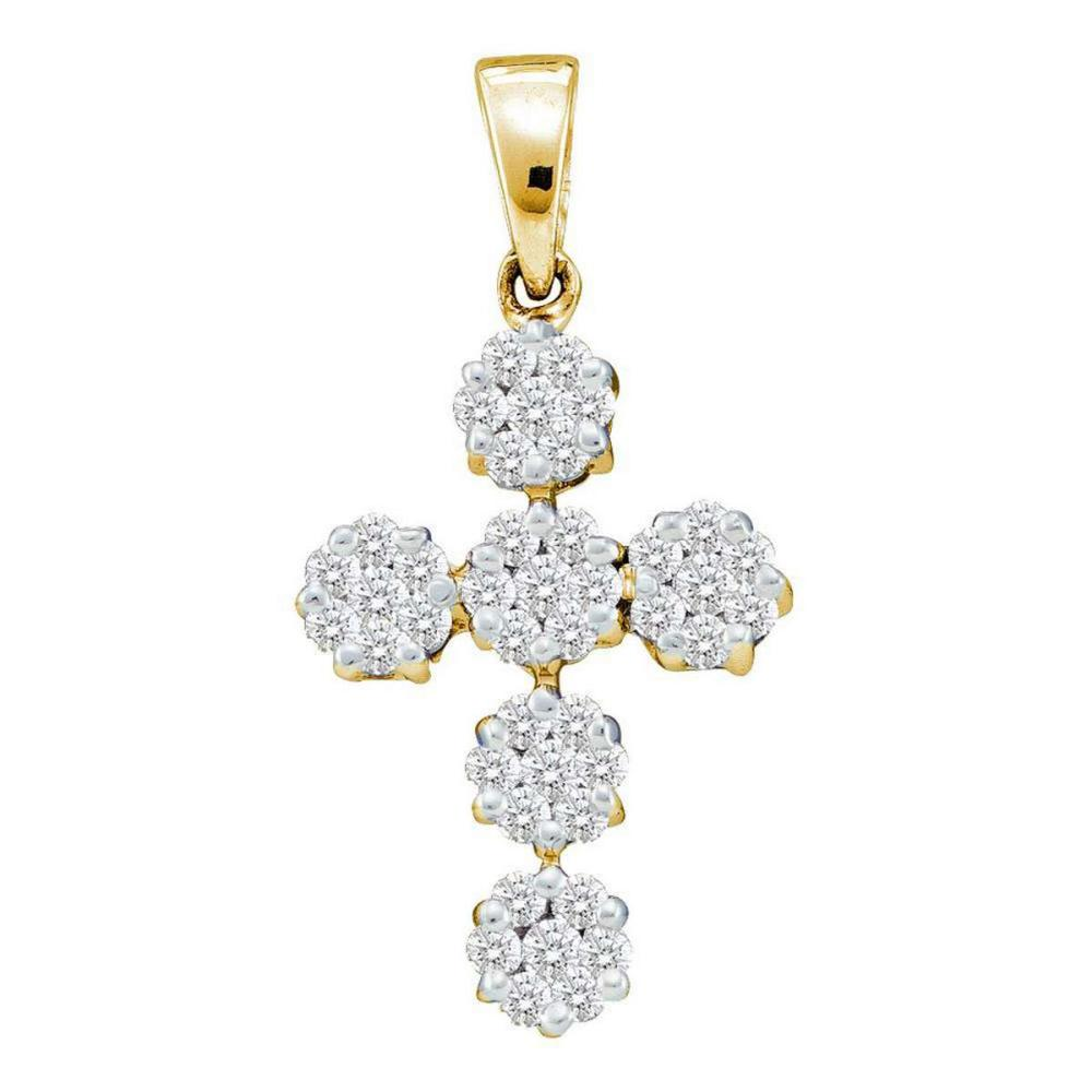 14k Yellow Gold Womens Round Diamond Cluster Cross Faith Pendant 1/2 Cttw
