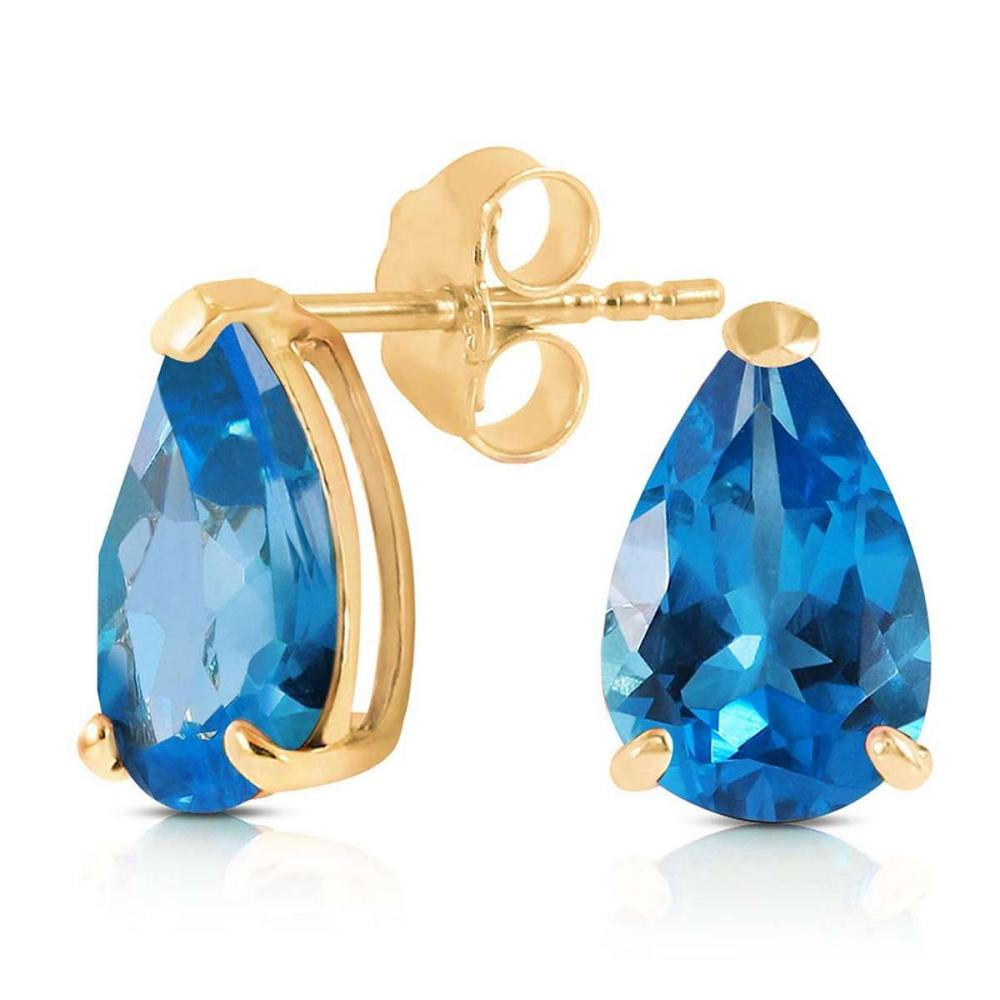 3.15 Carat 14K Solid Gold Stud Earrings Natural Blue Topaz