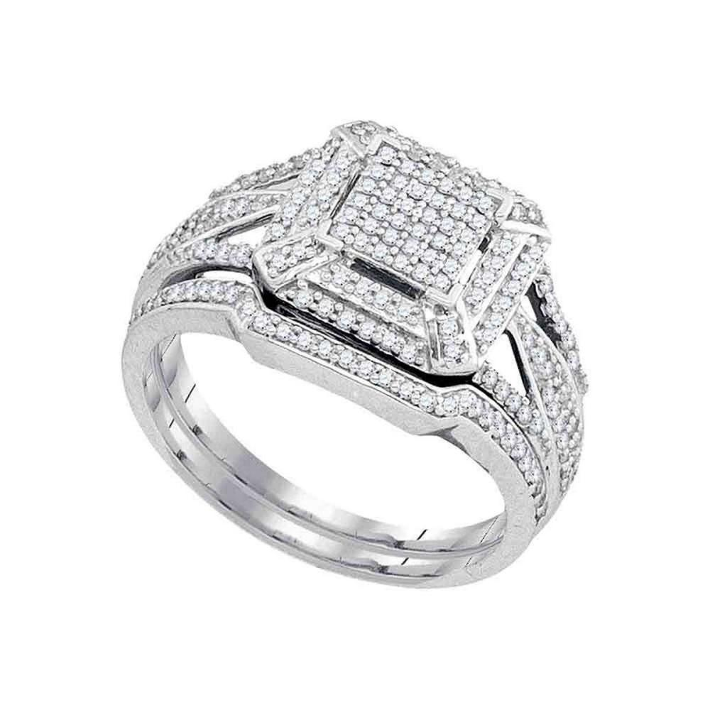 10k White Gold Diamond Cluster Bridal Wedding Engagement Ring Band Set 1/2 Ctw