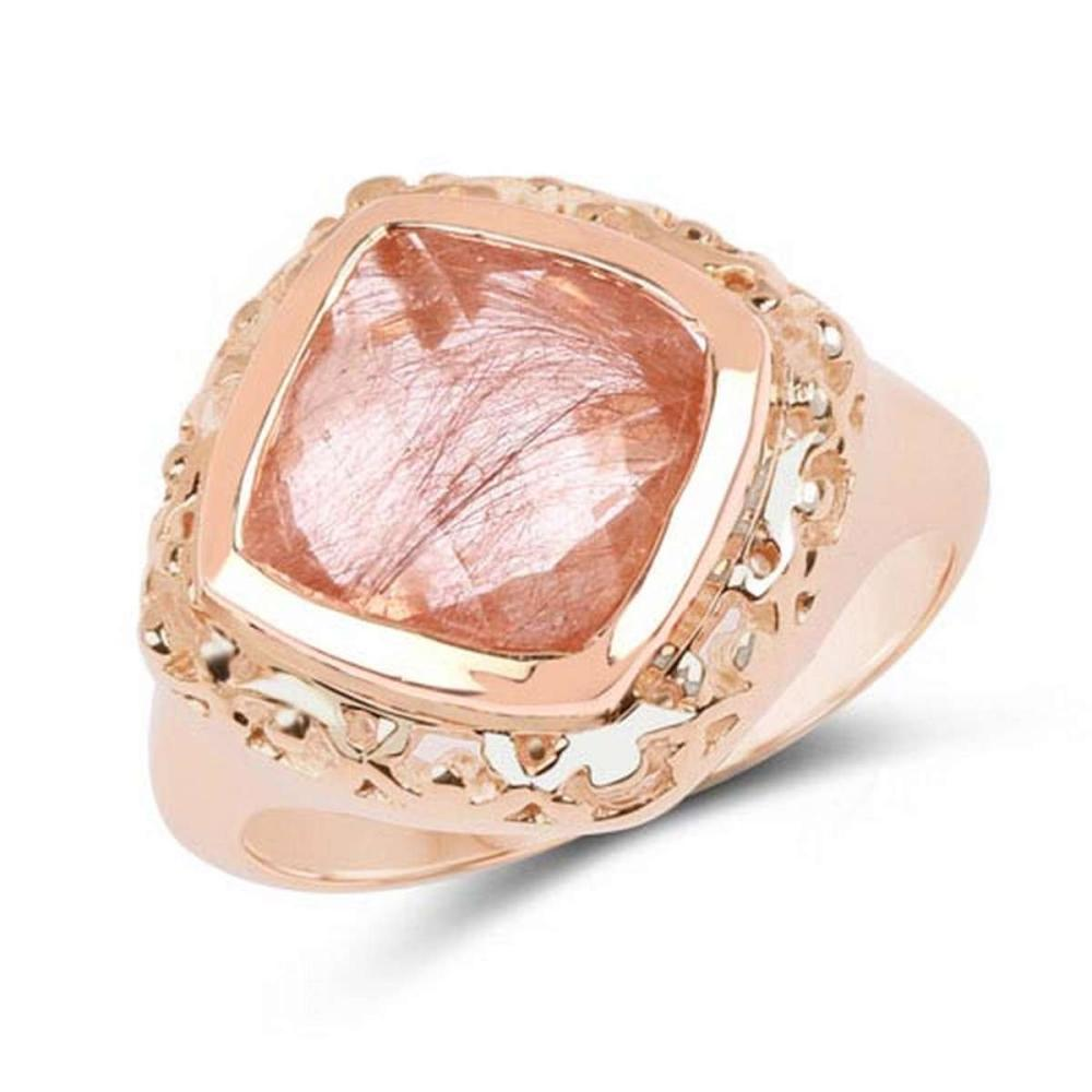 14K Rose Gold Plated 3.25 CTW Genuine Pink Rutile .925 Sterling Silver Ring