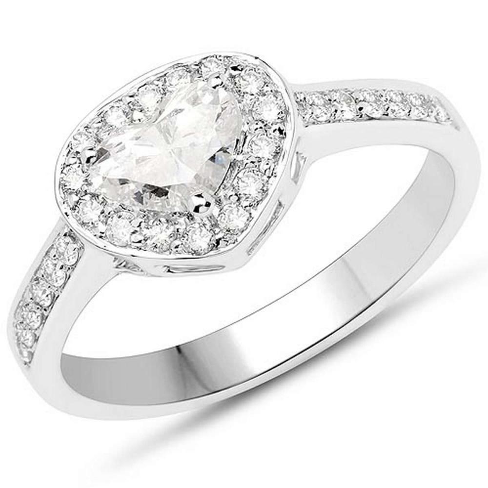 14K White Gold 0.77 Carat Genuine White Diamond Ring