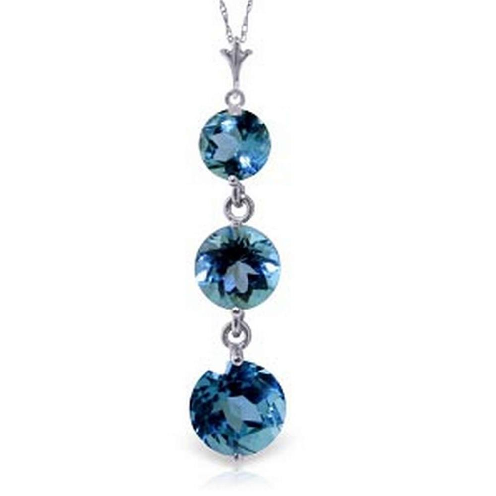 3.6 Carat 14K Solid White Gold Genies Out Blue Topaz Necklace