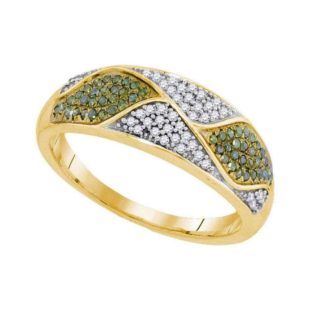10kt Yellow Gold Womens Round Green Color Enhanced Diamond Fashion Ring 1/4 Cttw