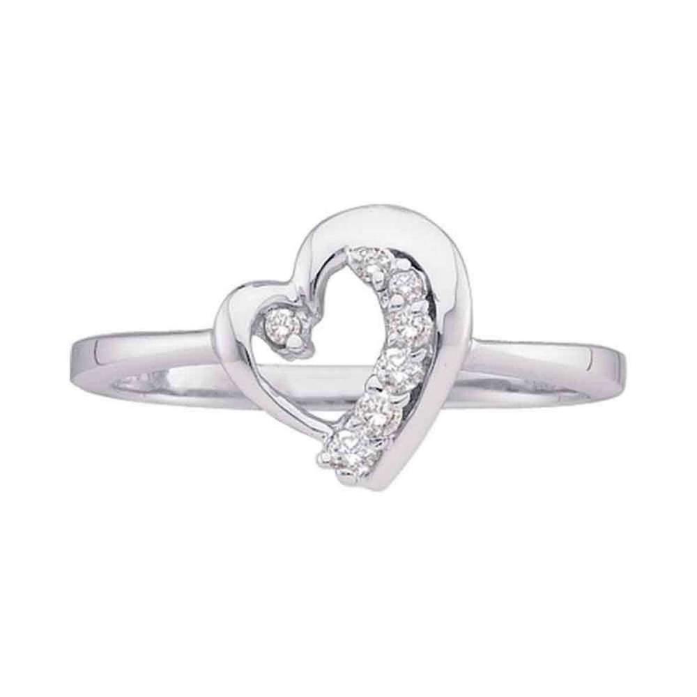 10k White Gold Womens Round Diamond Heart Journey Love Fashion Ring 1/10 Cttw