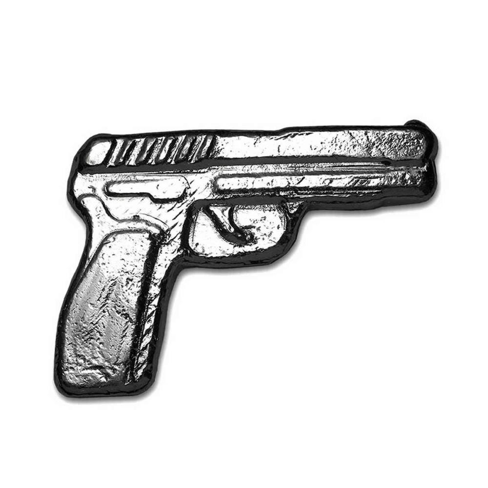 2 oz Fine Silver Gun - Poured Bar Pistol Handgun