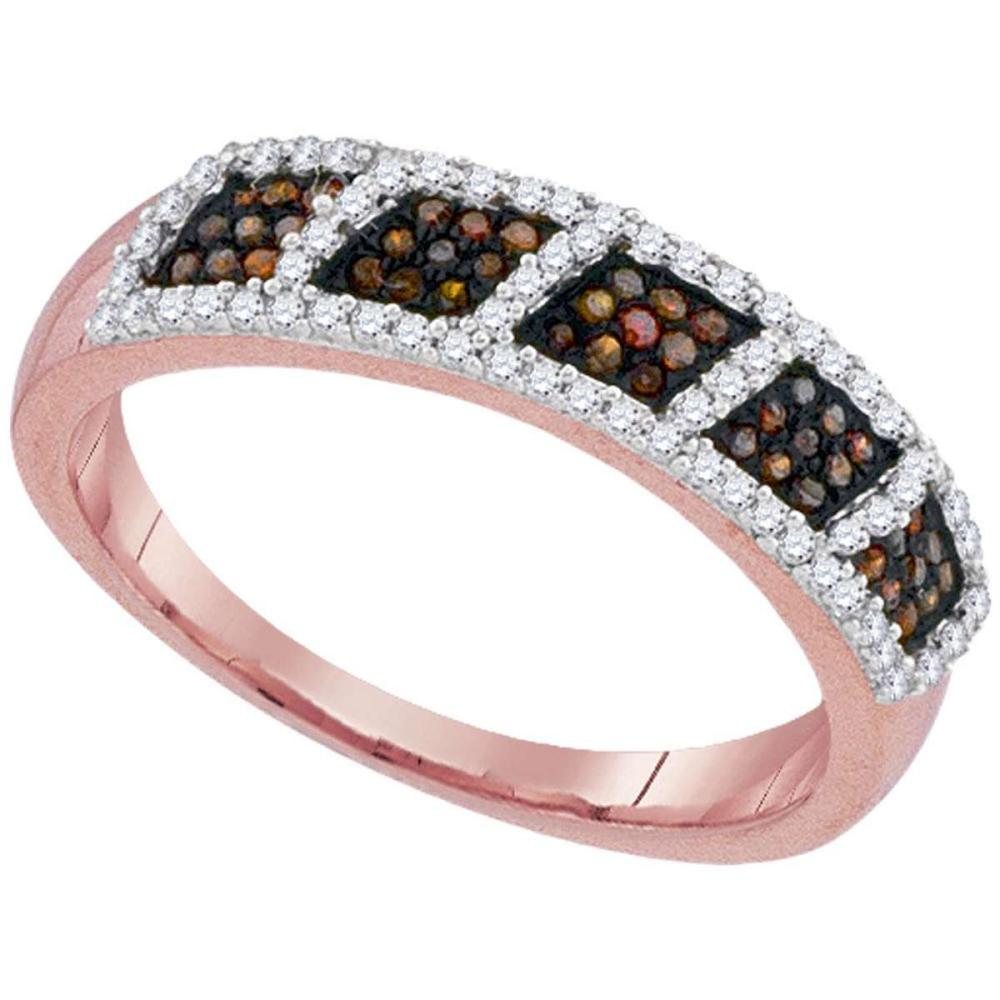 10k Rose Gold Womens Round Red Color Enhanced Diamond Square Cluster Band 1/3