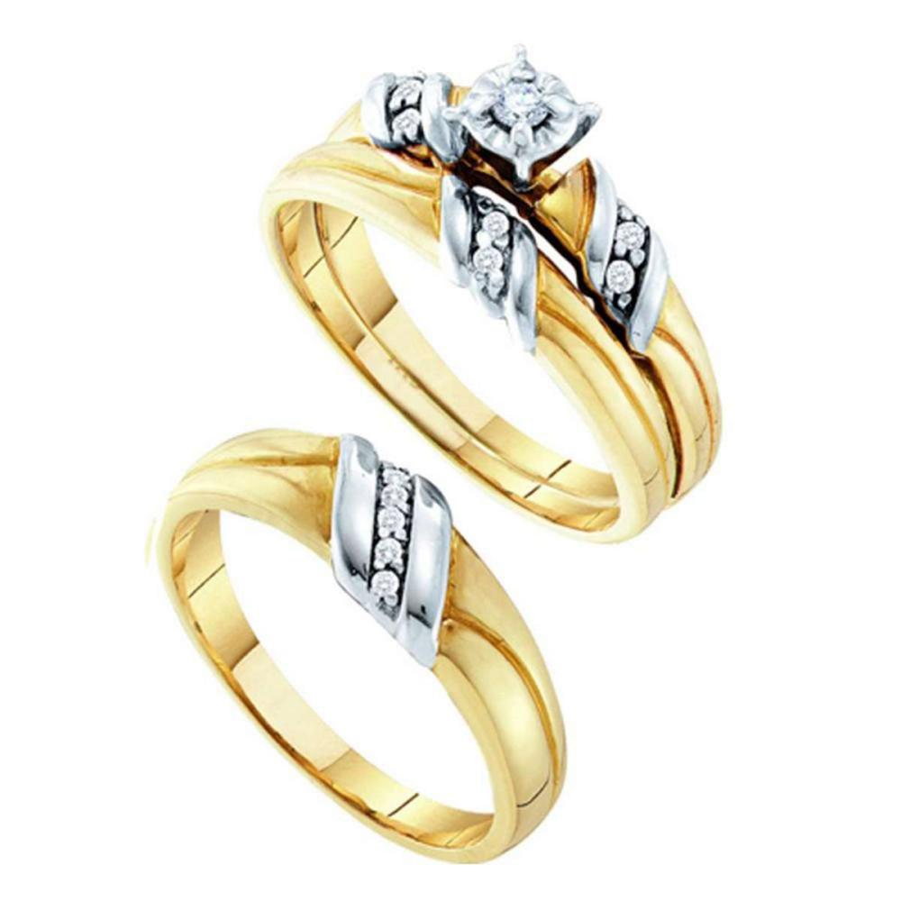 14k 2-tone Gold His Her Round Diamond Solitaire Matching Bridal Wedding Ring Set