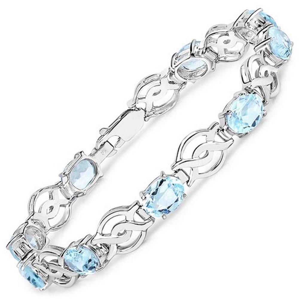 14.40 CTW Genuine Blue Topaz .925 Sterling Silver Bracelet
