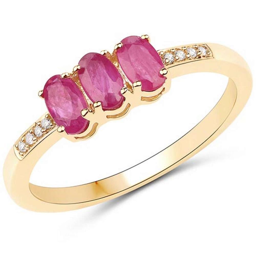 0.83 Carat Genuine Ruby and White Diamond 14K Yellow Gold Ring