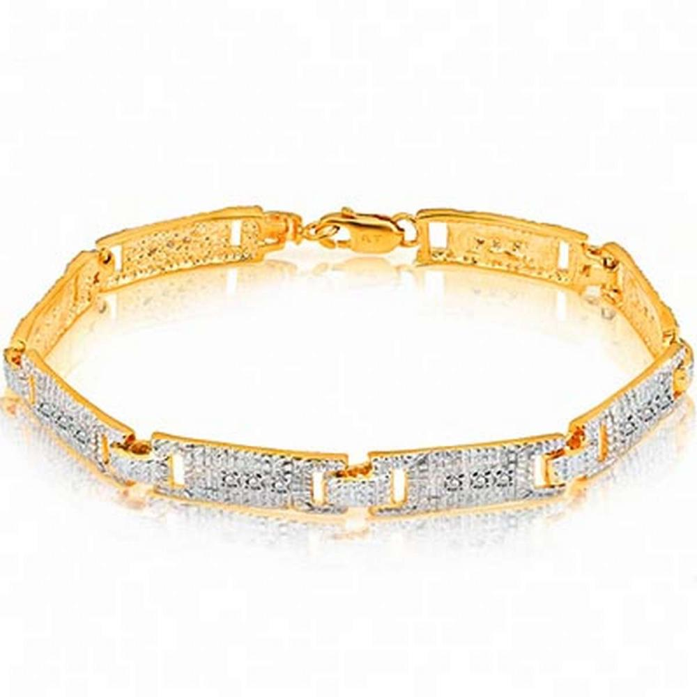 14K Yellow Gold Plated 0.11 Carat Genuine White Diamond .925 Sterling Silver Bracelet