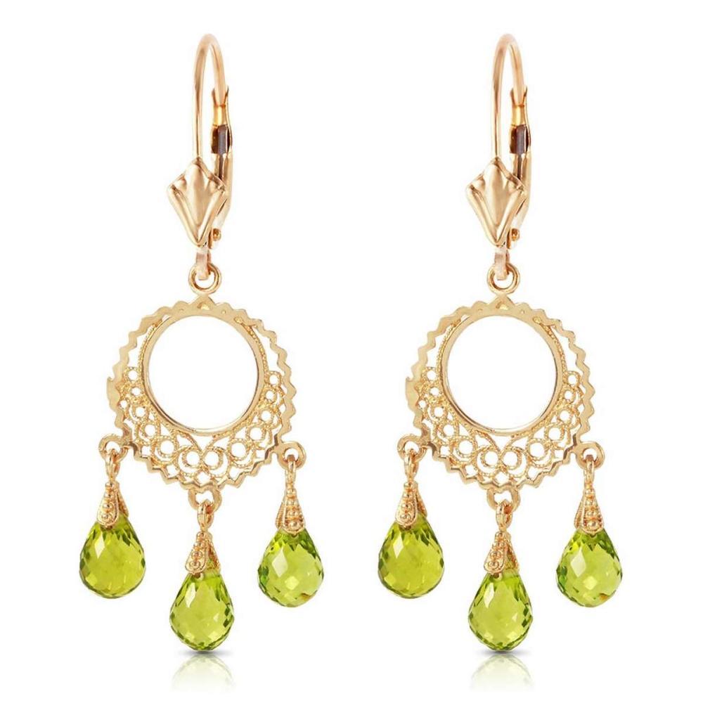 3.75 CTW 14K Solid Gold Funfare Peridot Earrings