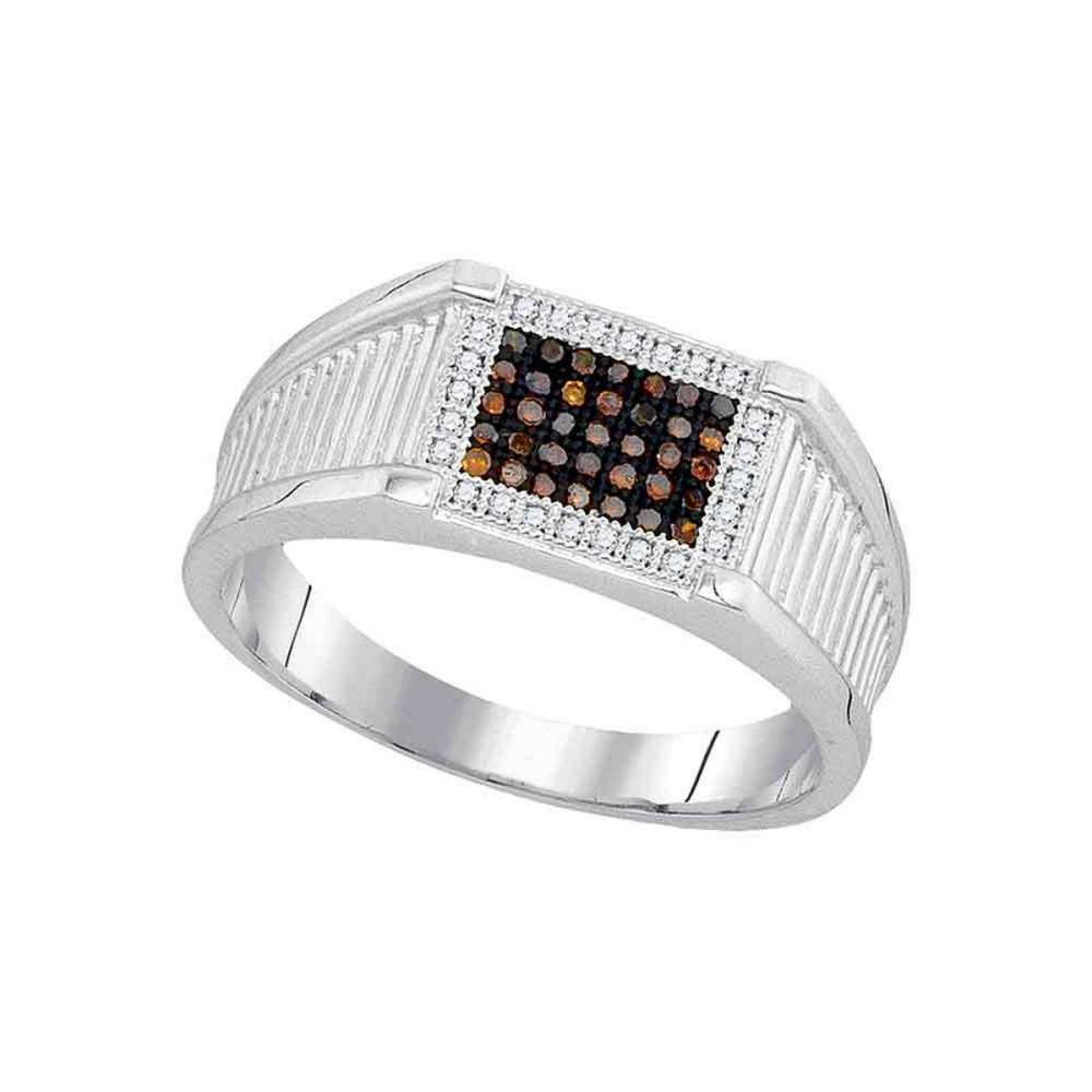 10k White Gold Mens Round Black Color Enhanced Diamond Rectangle Cluster Ring