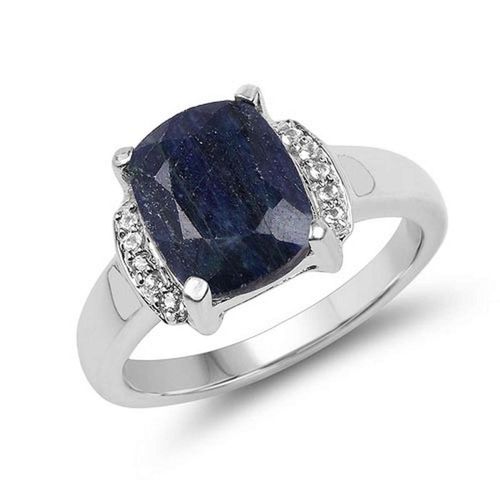 4.05 Carat Dyed Sapphire & White Topaz .925 Sterling Silver Ring