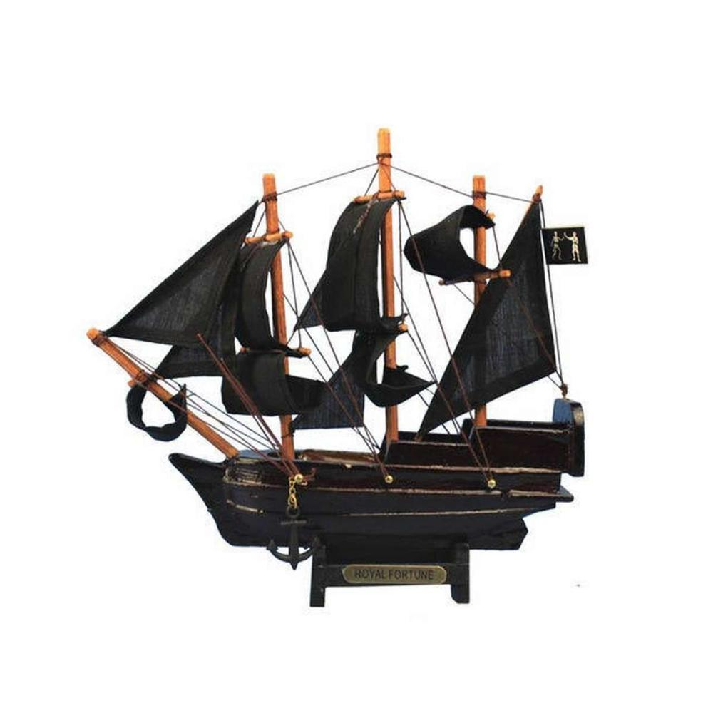 Wooden Black Barts Royal Fortune Model Pirate Ship 7in.