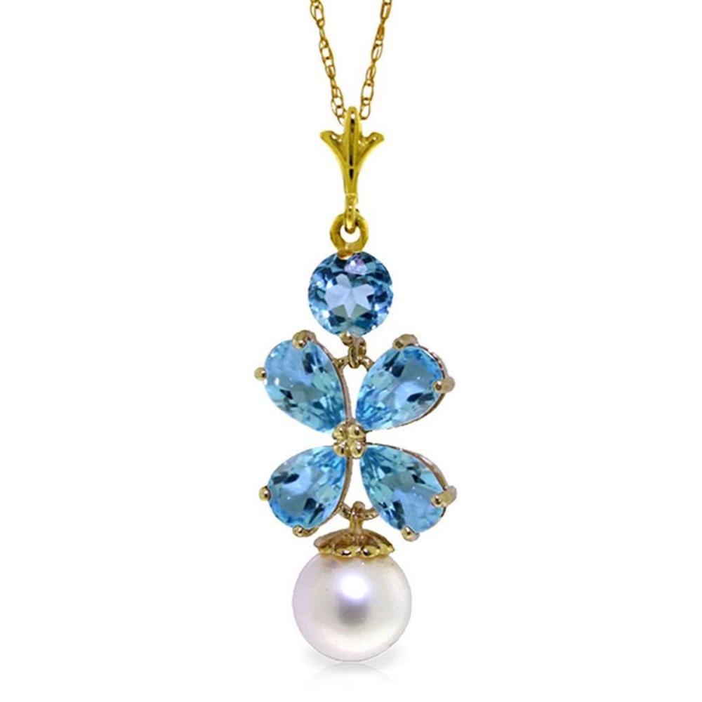 3.65 Carat 14K Soild Gold Seafoam Blue Topaz pearl Necklace