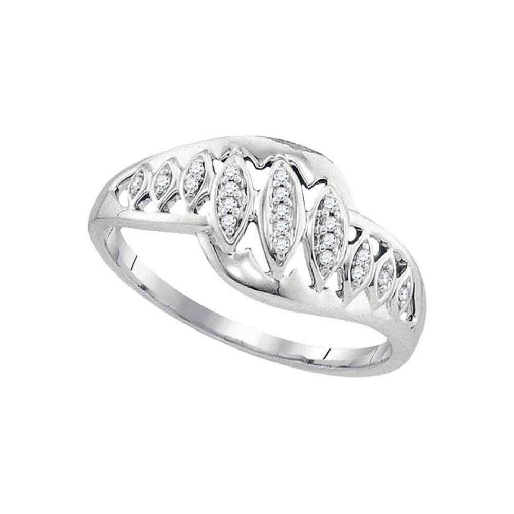 10k White Gold Womens Round Diamond Striped Openwork Band Ring 1/20 Cttw