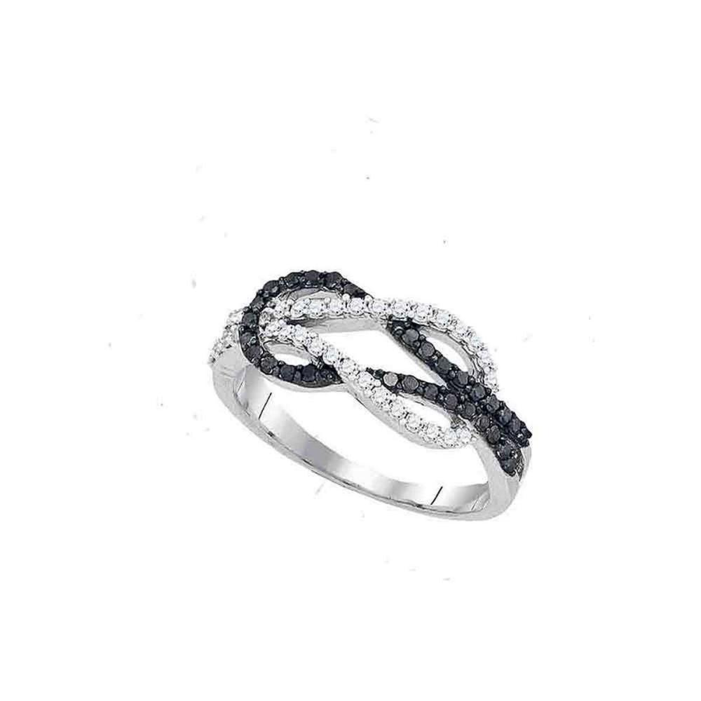 10k White Gold Round Black Color Enhanced Diamond Double Linked Knot Band Ring