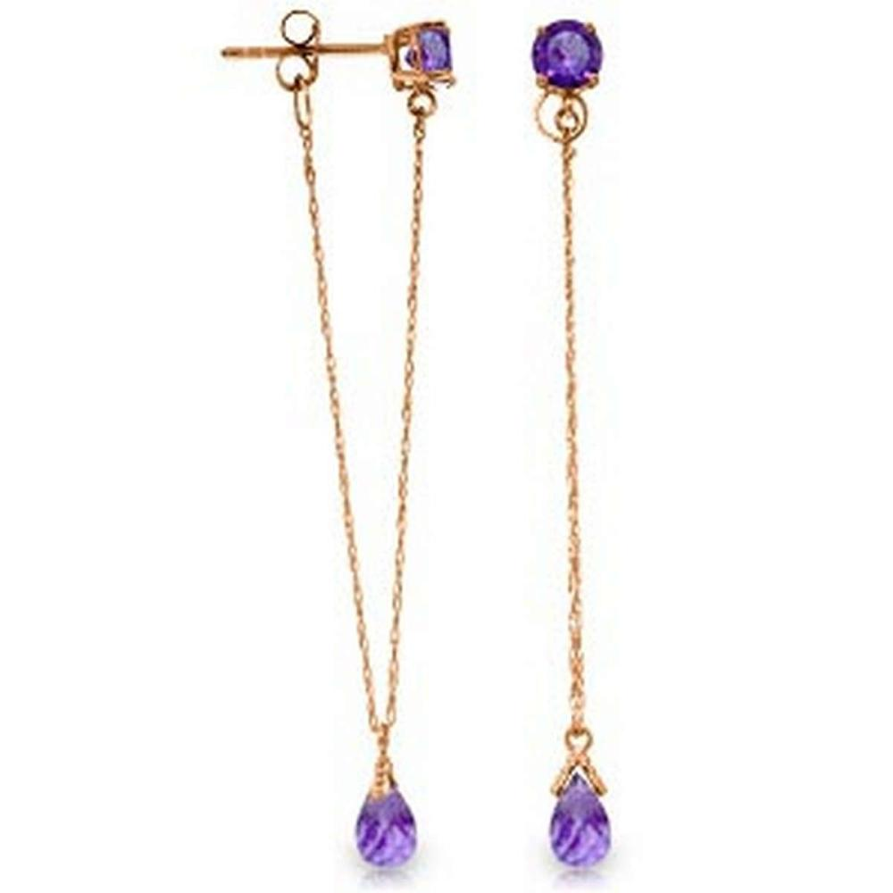14K Solid Rose Gold Chandelier Earrings with Natural Amethysts