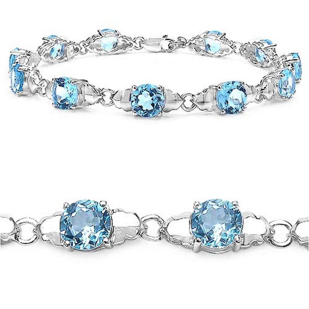 14.80 CTW Genuine Blue Topaz Sterling Silver Bracelet
