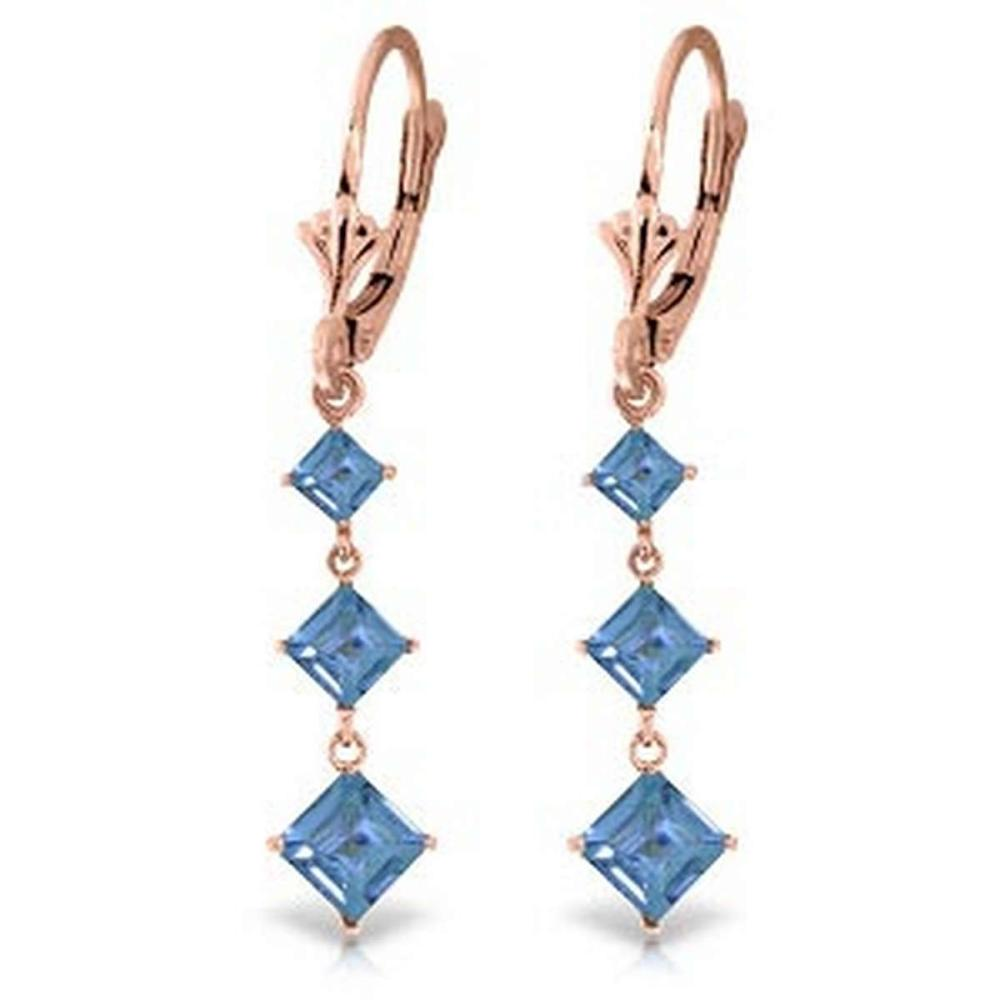 4.79 CTW 14K Solid Rose Gold Square Blue Topaz Drop Earrings