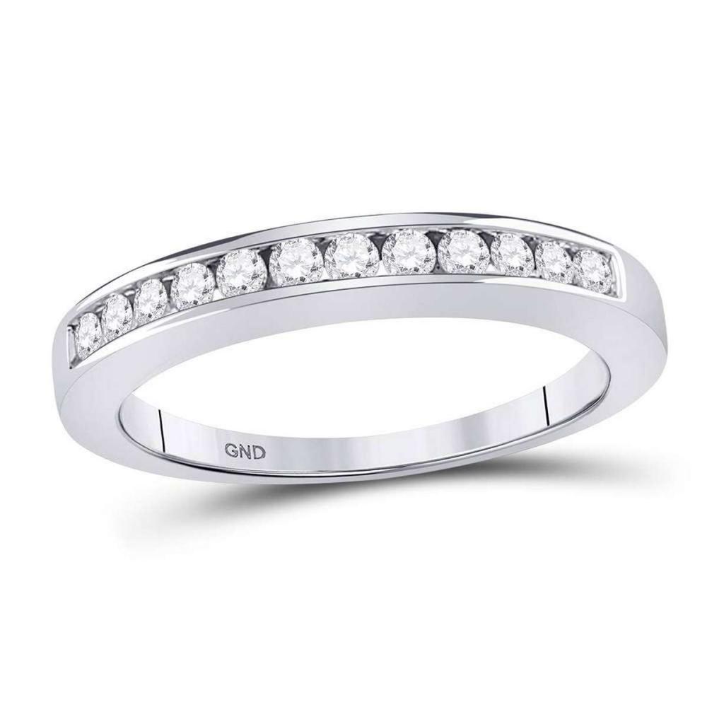 14kt White Gold Round Channel-set Diamond Single Row Wedding Band Size 6