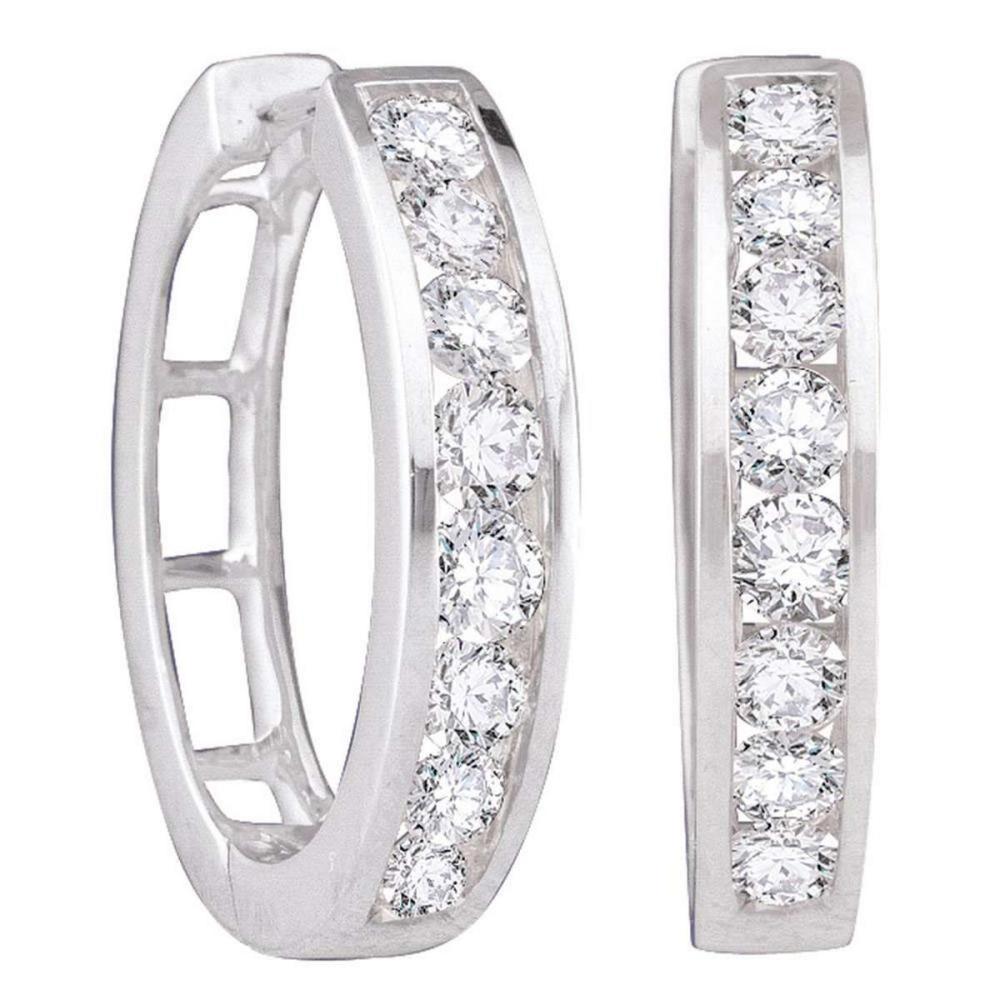 14k White Gold Womens Round Diamond Hoop Fashion Earrings 1.00 Cttw