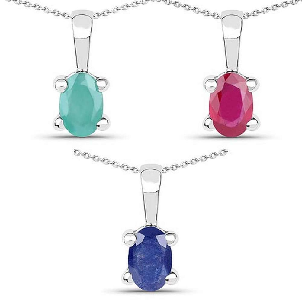 1.46 Carat Genuine Emerald Glass Filled Ruby & Glass Filled Sapphire .925 Sterling Silver Pendant