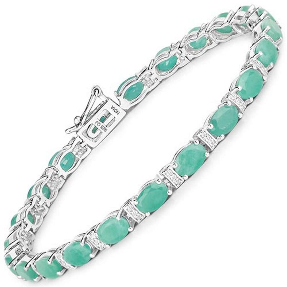 10.01 CTW Genuine Emerald and White Topaz .925 Sterling Silver Bracelet