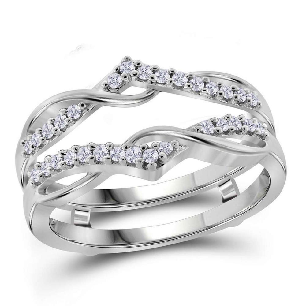 10k White Gold Womens Round Diamond Wrap Ring Guard Enhancer Wedding Band 1/4