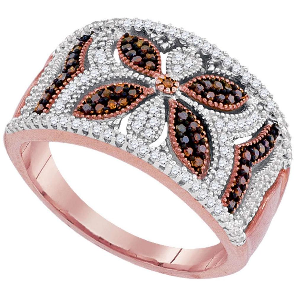 10k Rose Gold Womens Round Red Color Enhanced Diamond Band Fashion Ring 3/8