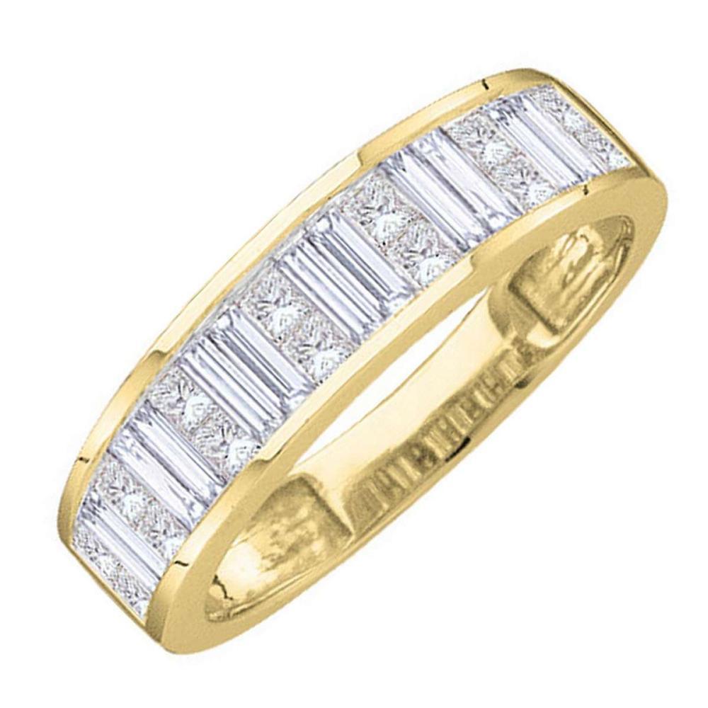 14k Yellow Gold Baguette Princess Diamond Wedding Anniversary Band 1 Ctw Size 9
