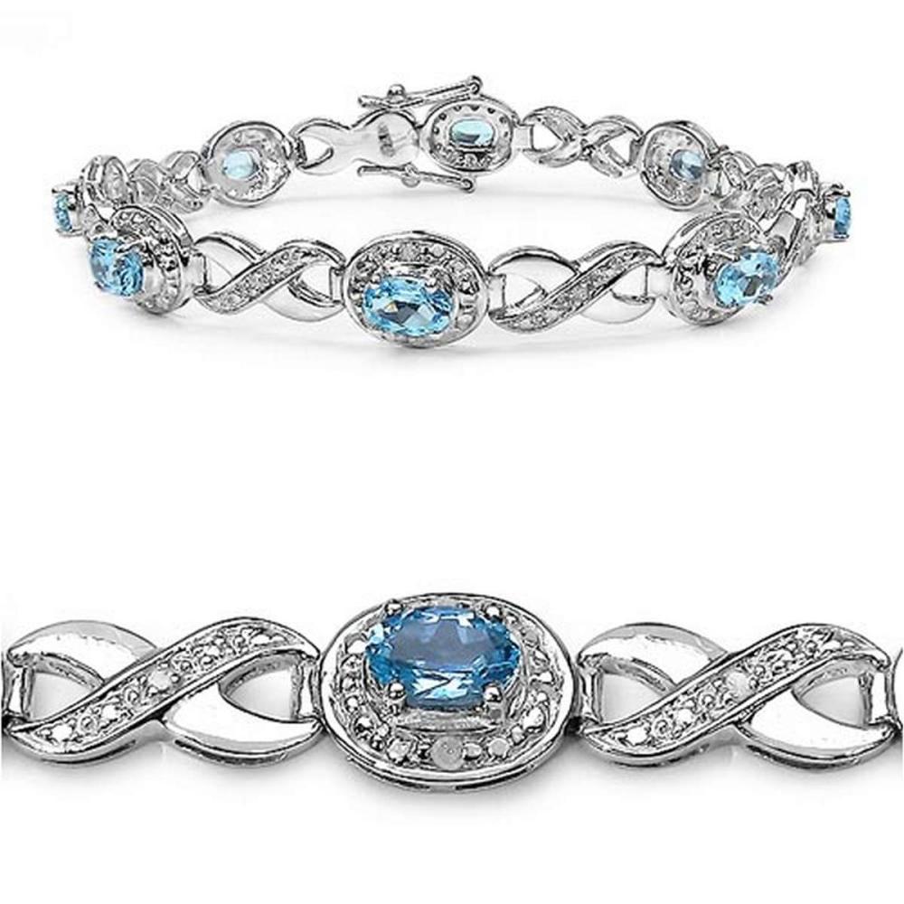 5.33 CTW Genuine Blue Topaz .925 Sterling Silver Bracelet