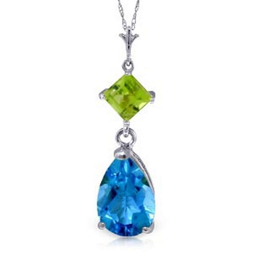 2 CTW 14K Solid White Gold Roll In The Grass Blue Topaz Peridot Necklace