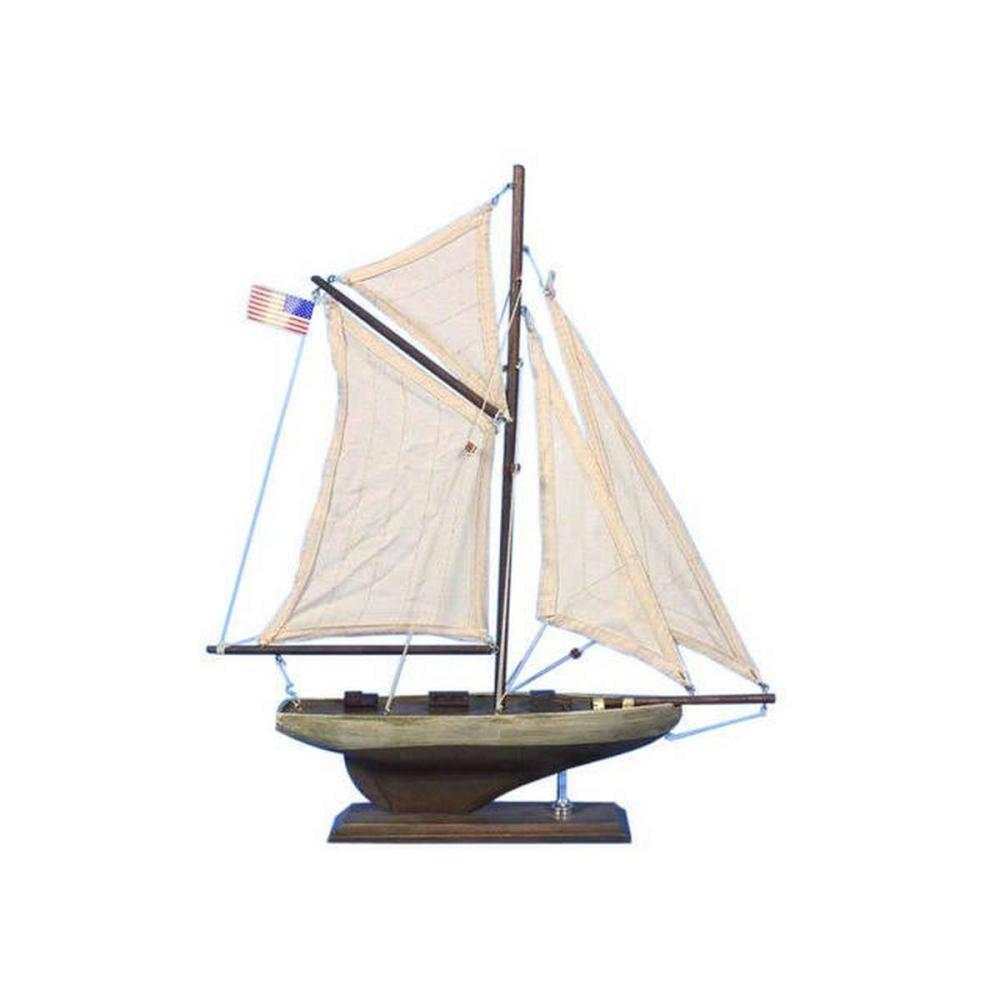 Wooden Rustic Columbia Model Sailboat Decoration 16in.