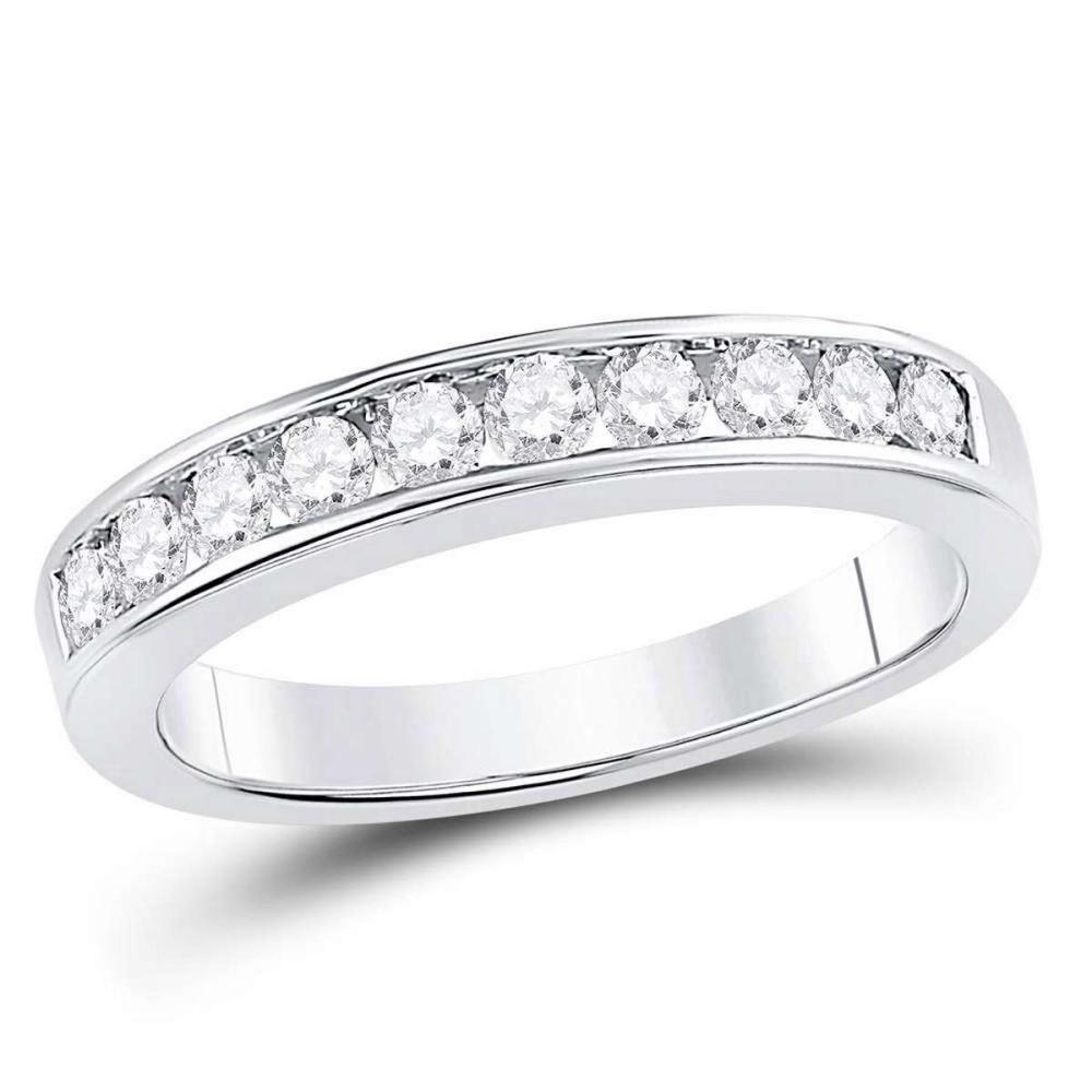 14kt White Gold Womens Round Channel-set Diamond Wedding Band 1/2 Cttw - Size 9