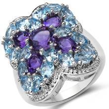 5.53 Carat Genuine Amethyst & Blue Topaz .925 Sterling Silver Ring