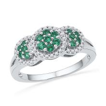 10kt White Gold Womens Round Lab-Created Emerald Diamond Cluster Fashion Ring 3/8 Cttw